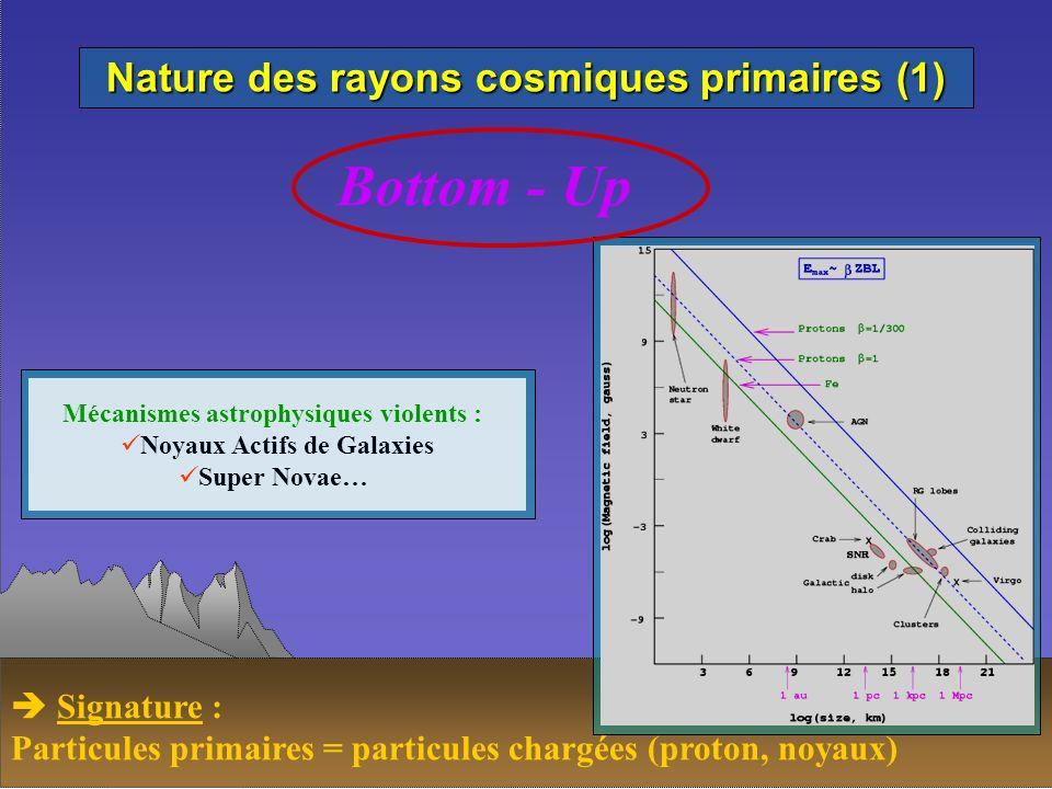 Nature des rayons cosmiques primaires (1) Bottom - Up Mécanismes astrophysiques violents : Noyaux Actifs de Galaxies Super Novae… Signature : Particul