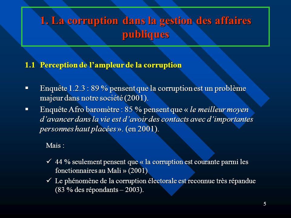 4 1. La corruption dans la gestion des affaires publiques Définition : Corruption = « labus dune fonction publique pour le profit personnel, ainsi que