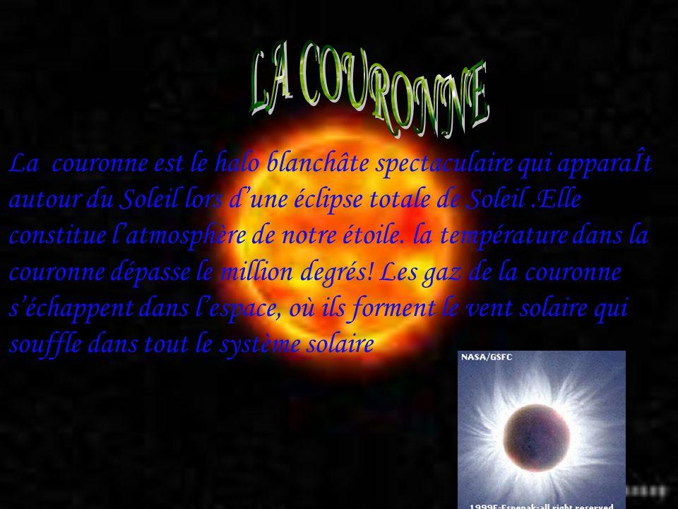 La couronne est le halo blanchâte spectaculaire qui apparaÎt autour du Soleil lors dune éclipse totale de Soleil.Elle constitue latmosphère de notre é