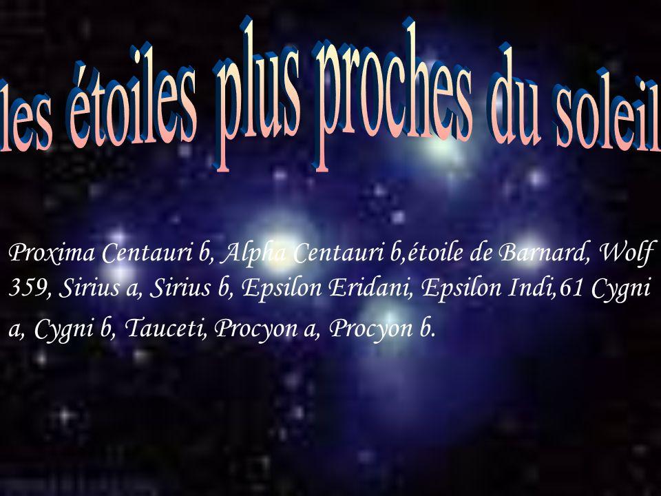Proxima Centauri b, Alpha Centauri b,étoile de Barnard, Wolf 359, Sirius a, Sirius b, Epsilon Eridani, Epsilon Indi,61 Cygni a, Cygni b, Tauceti, Proc