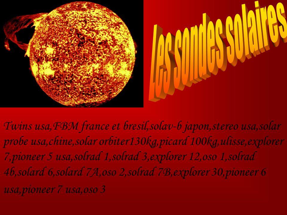 Twins usa,FBM france et bresil,solav-b japon,stereo usa,solar probe usa,chine,solar orbiter130kg,picard 100kg,ulisse,explorer 7,pioneer 5 usa,solrad 1