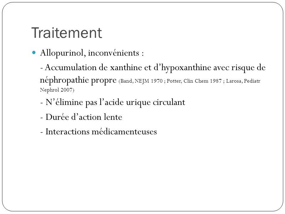 Traitement Allopurinol, inconvénients : - Accumulation de xanthine et dhypoxanthine avec risque de néphropathie propre (Band, NEJM 1970 ; Potter, Clin