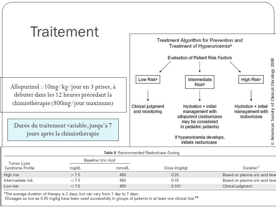 Traitement Allopurinol : 10mg/kg/jour en 3 prises, à débuter dans les 12 heures précédant la chimiothérapie (800mg/jour maximum) Durée du traitement variable, jusquà 7 jours après la chimiothérapie