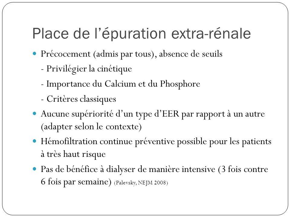 Place de lépuration extra-rénale Précocement (admis par tous), absence de seuils - Privilégier la cinétique - Importance du Calcium et du Phosphore -