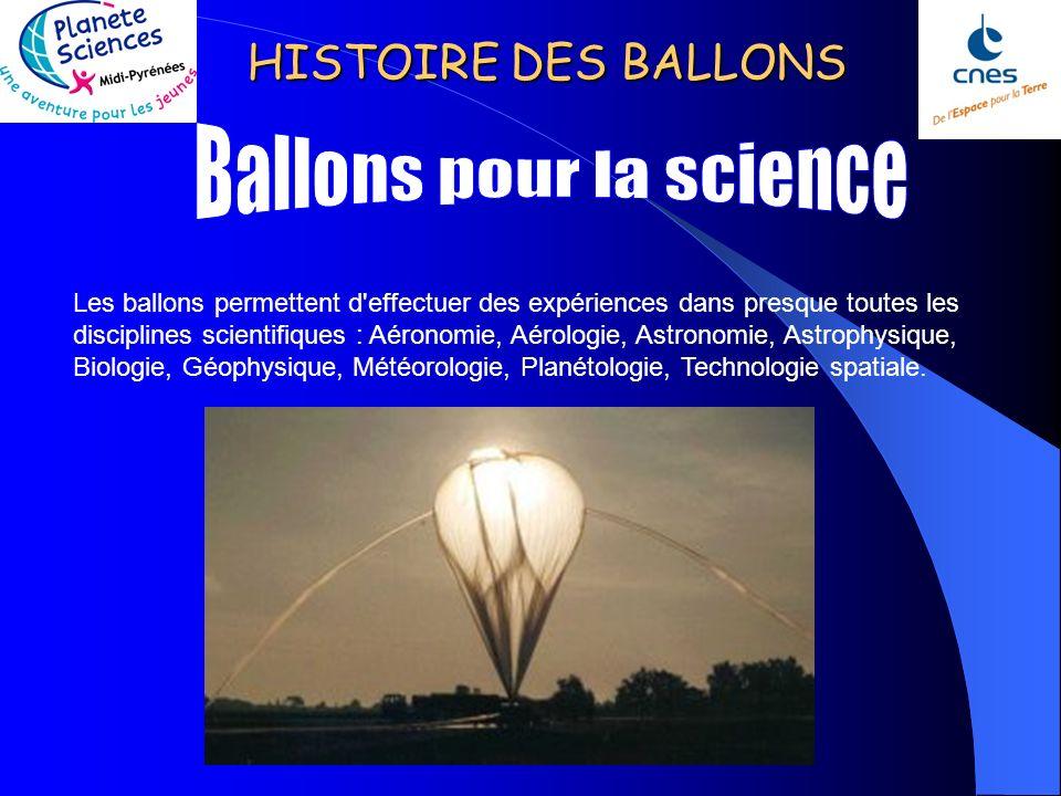 HISTOIRE DES BALLONS C'est en 1961 que le CNRS (Service d'Aéronomie) lança depuis Trappes (Yvelines) le premier ballon stratosphérique français. La Fr