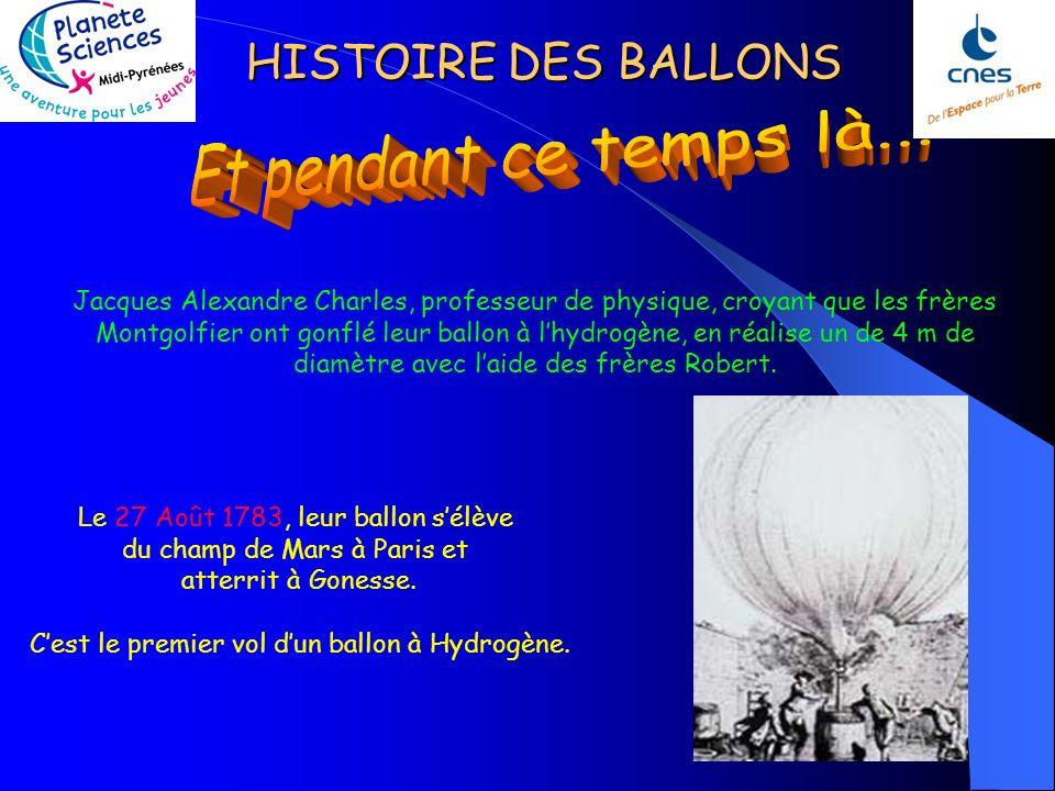 HISTOIRE DES BALLONS Jacques Alexandre Charles, professeur de physique, croyant que les frères Montgolfier ont gonflé leur ballon à lhydrogène, en réalise un de 4 m de diamètre avec laide des frères Robert.