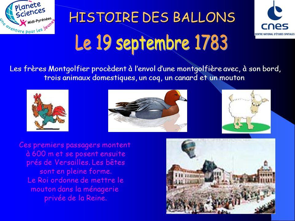 HISTOIRE DES BALLONS Les frères Montgolfier procèdent à lenvol dune montgolfière avec, à son bord, trois animaux domestiques, un coq, un canard et un mouton Ces premiers passagers montent à 600 m et se posent ensuite prés de Versailles.