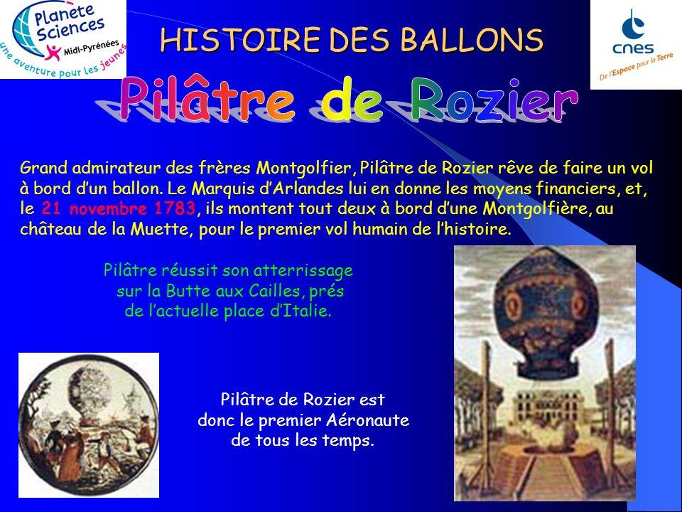 HISTOIRE DES BALLONS Grand admirateur des frères Montgolfier, Pilâtre de Rozier rêve de faire un vol à bord dun ballon.