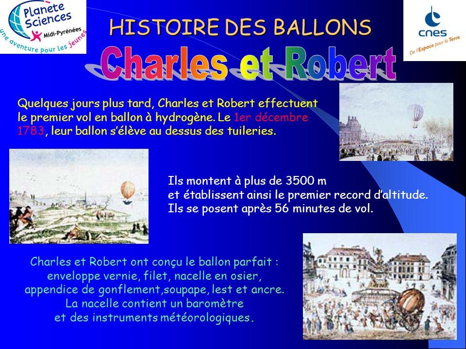 HISTOIRE DES BALLONS Quelques jours plus tard, Charles et Robert effectuent le premier vol en ballon à hydrogène.