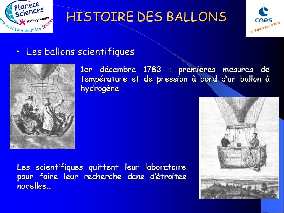 HISTOIRE DES BALLONS Les ballons scientifiquesLes ballons scientifiques Les scientifiques quittent leur laboratoire pour faire leur recherche dans détroites nacelles… 1er décembre 1783 : premières mesures de température et de pression à bord dun ballon à hydrogène
