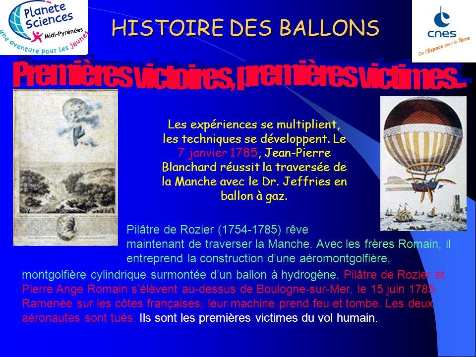 HISTOIRE DES BALLONS Les expériences se multiplient, les techniques se développent.