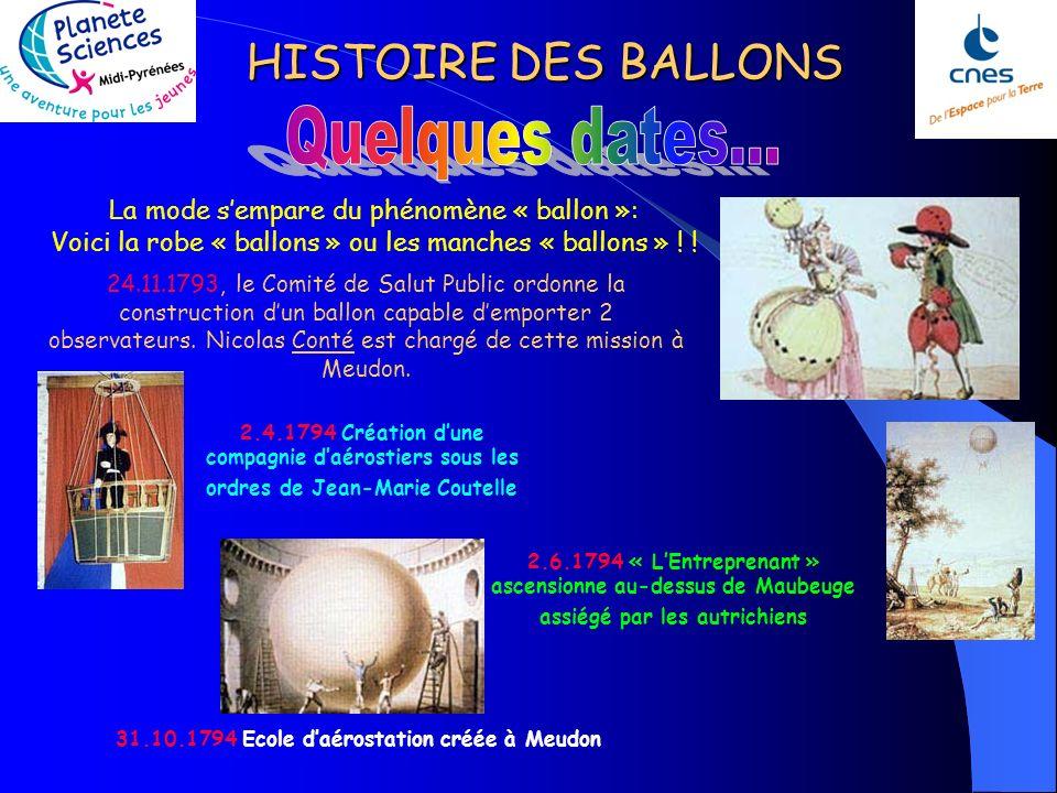 HISTOIRE DES BALLONS Les expériences se multiplient, les techniques se développent. Le 7 janvier 1785, Jean-Pierre Blanchard réussit la traversée de l