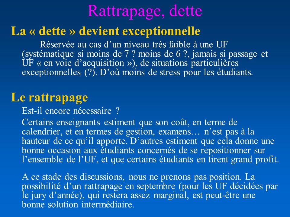 Rattrapage, dette La « dette » devient exceptionnelle Réservée au cas dun niveau très faible à une UF (systématique si moins de 7 ? moins de 6 ?, jama