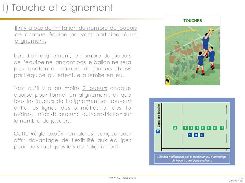 12 Janvier 2009 AFFR - AL - Projet de Jeu Annexe f) Touche et alignement Il ny a pas de limitation du nombre de joueurs de chaque équipe pouvant participer à un alignement.