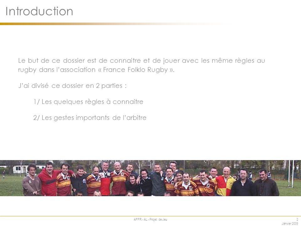 2 Janvier 2009 AFFR - AL - Projet de Jeu Le but de ce dossier est de connaitre et de jouer avec les même règles au rugby dans lassociation « France Folklo Rugby ».