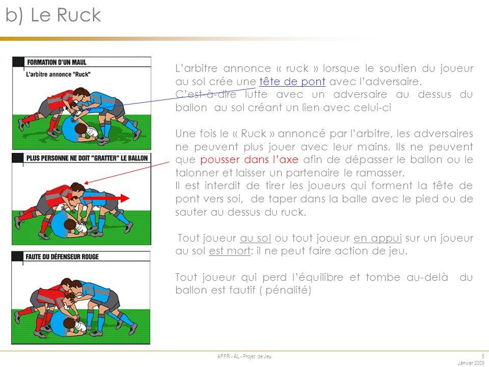 5 Janvier 2009 AFFR - AL - Projet de Jeu Annexe b) Le Ruck Larbitre annonce « ruck » lorsque le soutien du joueur au sol crée une tête de pont avec ladversaire.