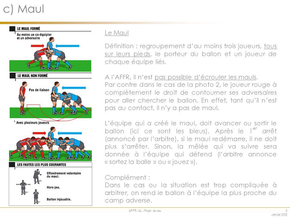 6 Janvier 2009 AFFR - AL - Projet de Jeu Annexe c) Maul Le Maul Définition : regroupement dau moins trois joueurs, tous sur leurs pieds, le porteur du ballon et un joueur de chaque équipe liés.