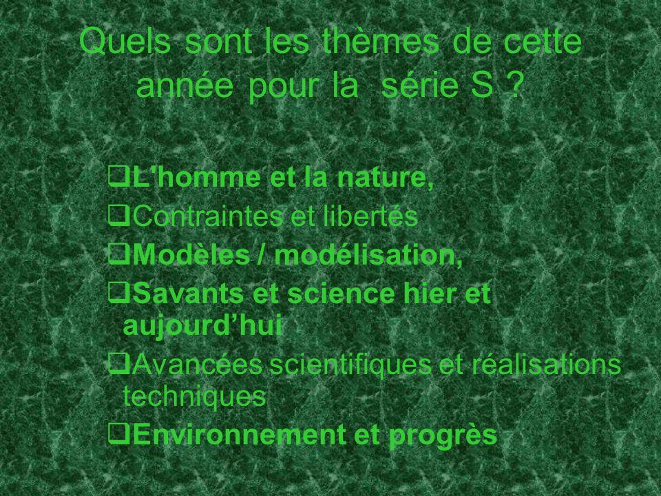 Quels sont les thèmes de cette année pour la série S ? L'homme et la nature, Contraintes et libertés Modèles / modélisation, Savants et science hier e