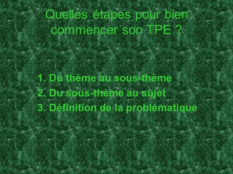 Quelles étapes pour bien commencer son TPE ? 1.Du thème au sous-thème 2.Du sous-thème au sujet 3.Définition de la problématique