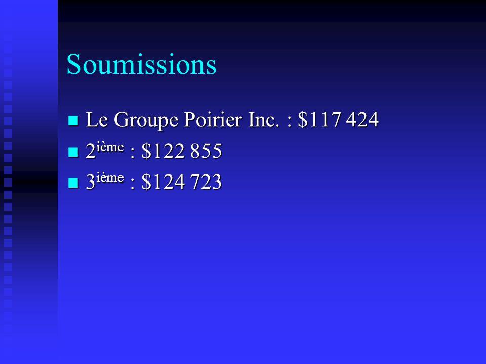 Soumissions Le Groupe Poirier Inc. : $117 424 Le Groupe Poirier Inc. : $117 424 2 ième : $122 855 2 ième : $122 855 3 ième : $124 723 3 ième : $124 72