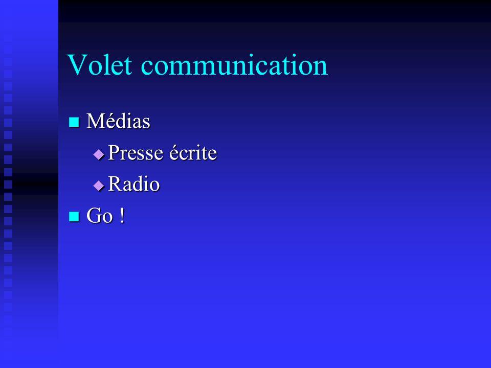 Volet communication Médias Médias Presse écrite Presse écrite Radio Radio Go ! Go !
