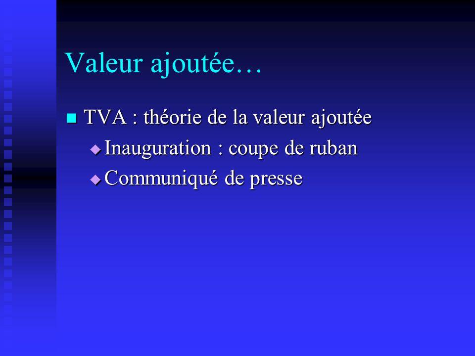 Valeur ajoutée… TVA : théorie de la valeur ajoutée TVA : théorie de la valeur ajoutée Inauguration : coupe de ruban Inauguration : coupe de ruban Comm