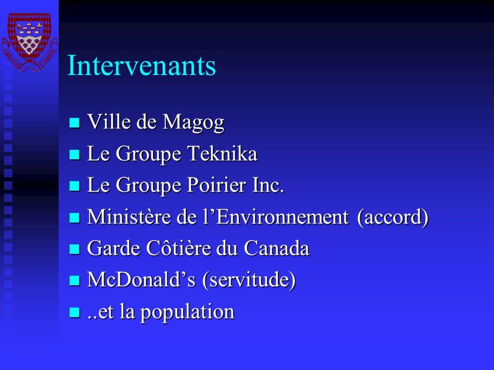 Intervenants Ville de Magog Ville de Magog Le Groupe Teknika Le Groupe Teknika Le Groupe Poirier Inc. Le Groupe Poirier Inc. Ministère de lEnvironneme