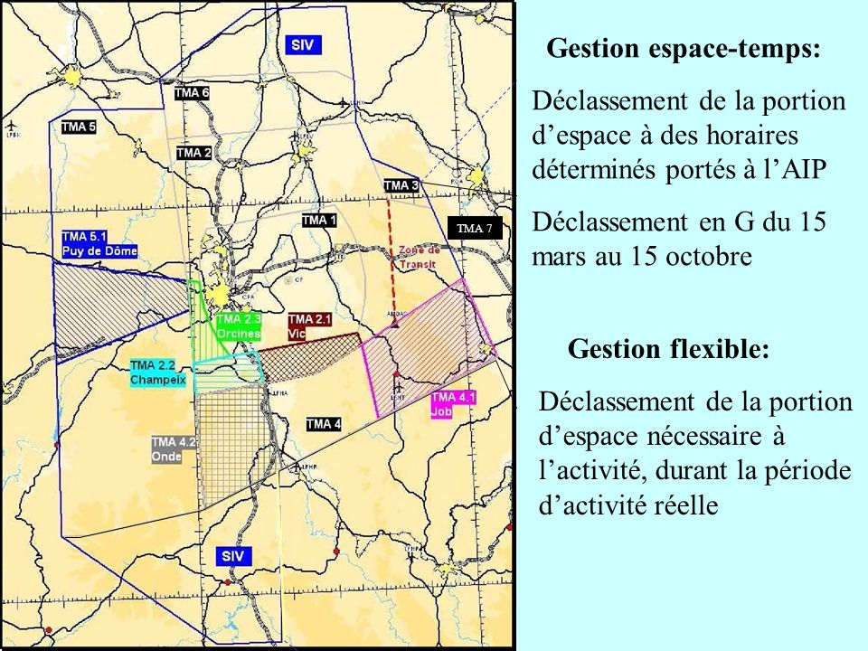 Gestion espace-temps: Déclassement de la portion despace à des horaires déterminés portés à lAIP Déclassement en G du 15 mars au 15 octobre Gestion fl