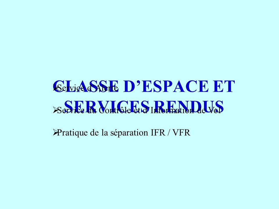 CLASSE DESPACE ET SERVICES RENDUS Service dAlerte Service du Contrôle et dInformation de Vol Pratique de la séparation IFR / VFR