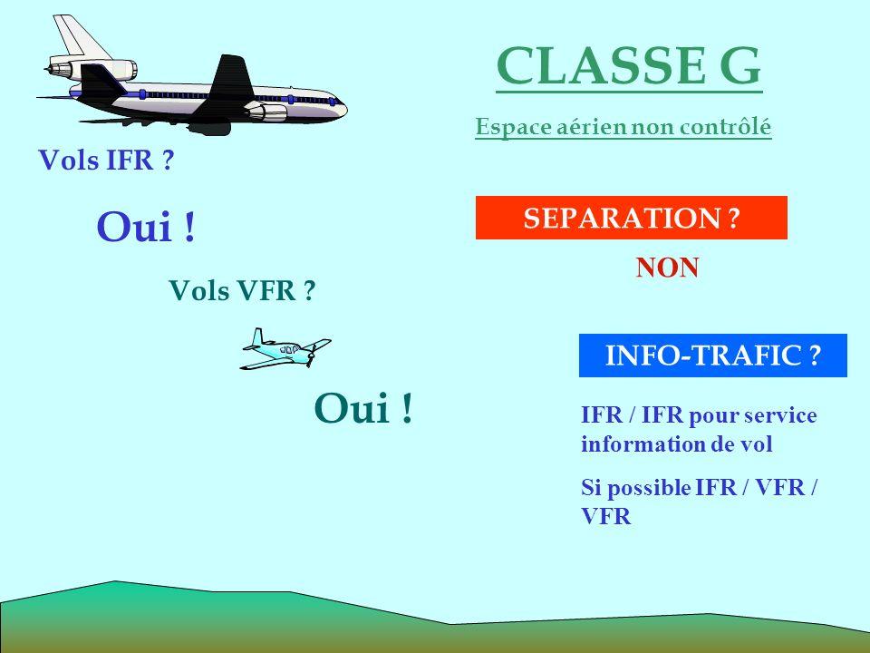 CLASSE G Espace aérien non contrôlé Oui ! Vols VFR ? Oui ! INFO-TRAFIC ? Vols IFR ? SEPARATION ? NON IFR / IFR pour service information de vol Si poss