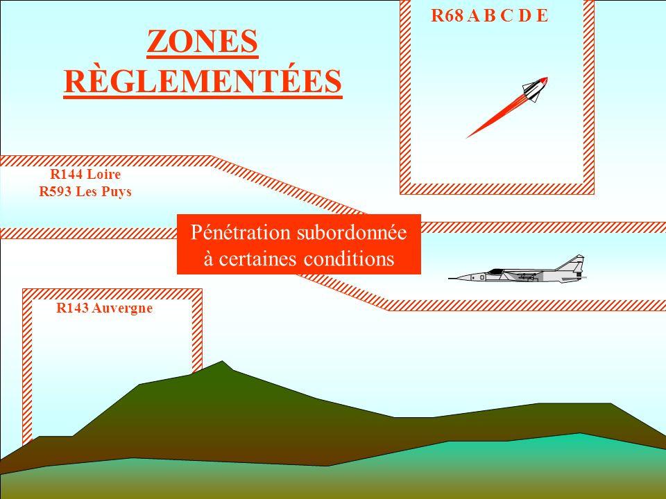 ZONES RÈGLEMENTÉES R143 Auvergne R144 Loire R593 Les Puys R68 A B C D E Pénétration subordonnée à certaines conditions