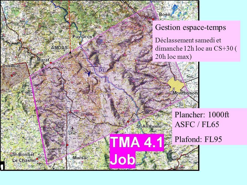 Plancher: 1000ft ASFC / FL65 Plafond: FL95 Gestion espace-temps Déclassement samedi et dimanche 12h loc au CS+30 ( 20h loc max)