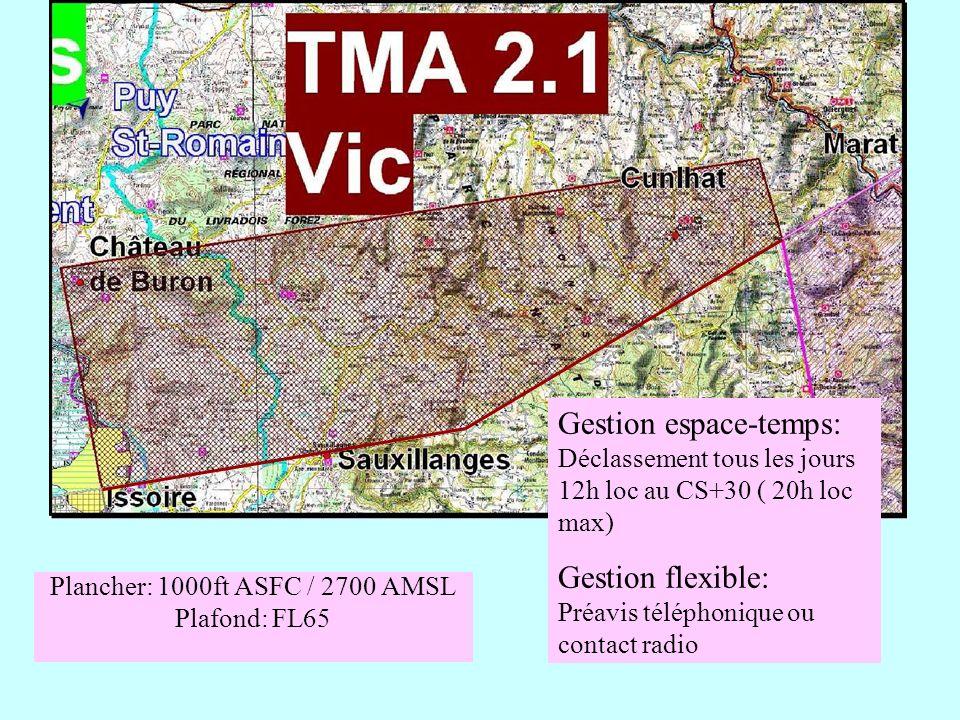 Plancher: 1000ft ASFC / 2700 AMSL Plafond: FL65 Gestion espace-temps: Déclassement tous les jours 12h loc au CS+30 ( 20h loc max) Gestion flexible: Pr