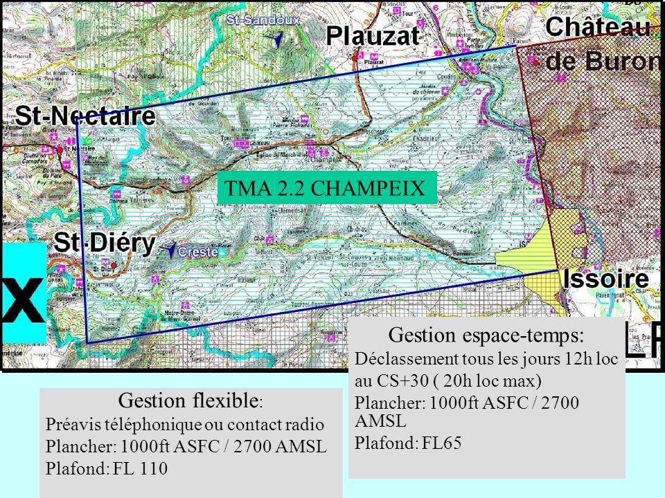 Gestion flexible : Préavis téléphonique ou contact radio Plancher: 1000ft ASFC / 2700 AMSL Plafond: FL 110 TMA 2.2 CHAMPEIX Gestion espace-temps: Décl
