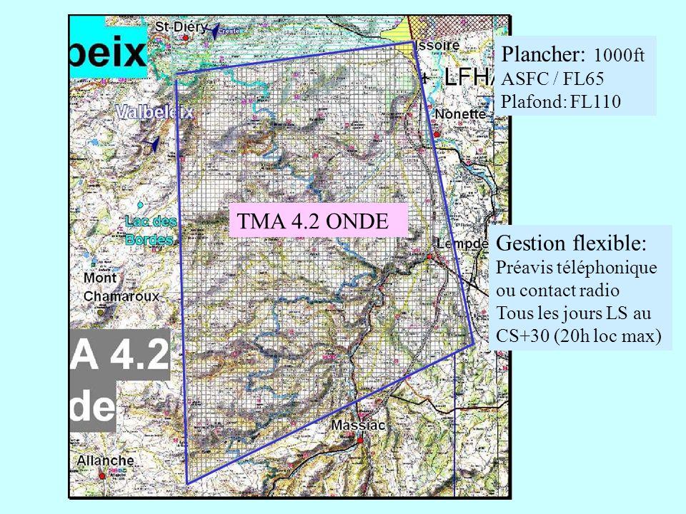 TMA 4.2 ONDE Plancher: 1000ft ASFC / FL65 Plafond: FL110 Gestion flexible: Préavis téléphonique ou contact radio Tous les jours LS au CS+30 (20h loc m