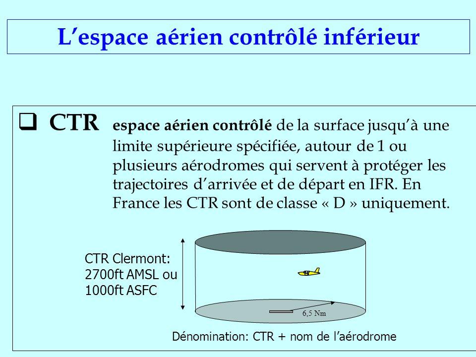 CTR espace aérien contrôlé de la surface jusquà une limite supérieure spécifiée, autour de 1 ou plusieurs aérodromes qui servent à protéger les trajec