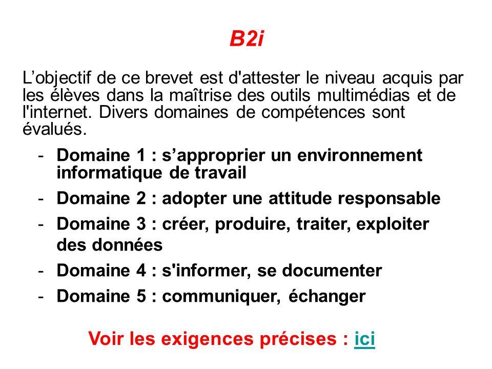 -Domaine 1 : sapproprier un environnement informatique de travail -Domaine 2 : adopter une attitude responsable -Domaine 3 : créer, produire, traiter,