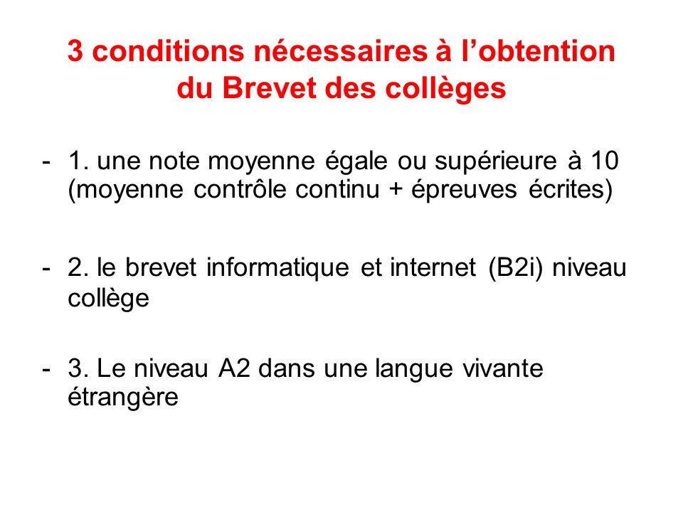 3 conditions nécessaires à lobtention du Brevet des collèges -1. une note moyenne égale ou supérieure à 10 (moyenne contrôle continu + épreuves écrite