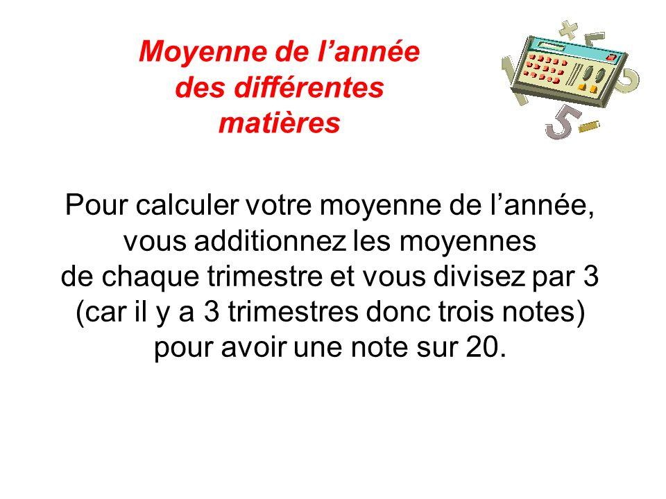 Pour calculer votre moyenne de lannée, vous additionnez les moyennes de chaque trimestre et vous divisez par 3 (car il y a 3 trimestres donc trois not