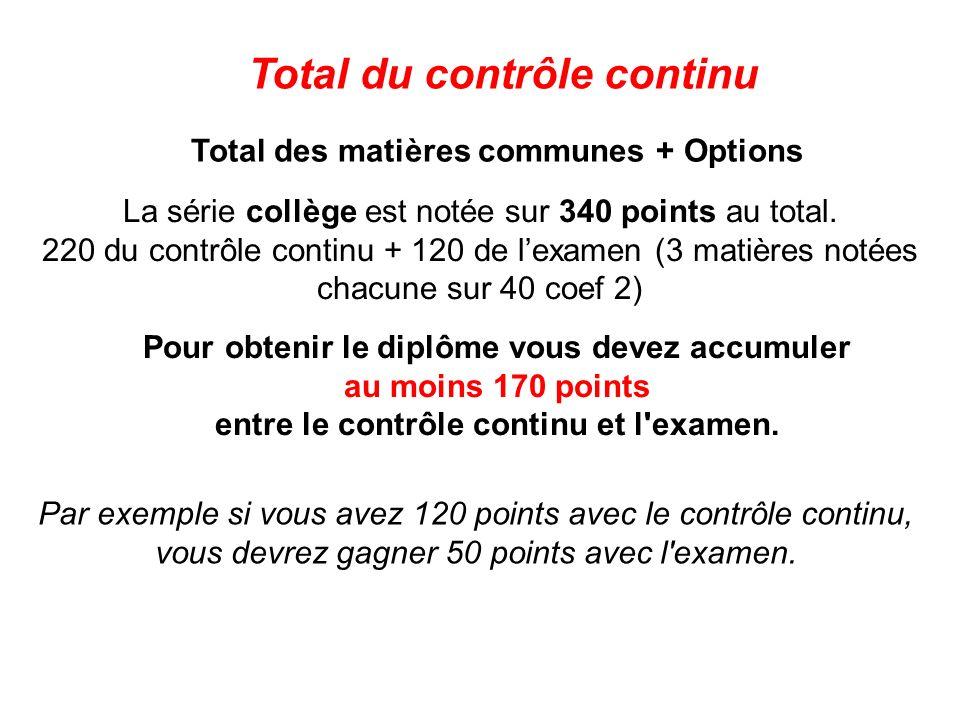 Total des matières communes + Options Total du contrôle continu La série collège est notée sur 340 points au total. 220 du contrôle continu + 120 de l