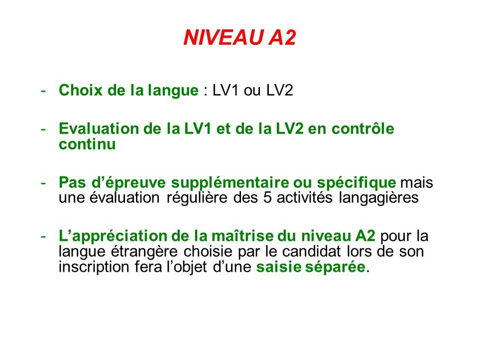 NIVEAU A2 -Choix de la langue : LV1 ou LV2 -Evaluation de la LV1 et de la LV2 en contrôle continu -Pas dépreuve supplémentaire ou spécifique mais une