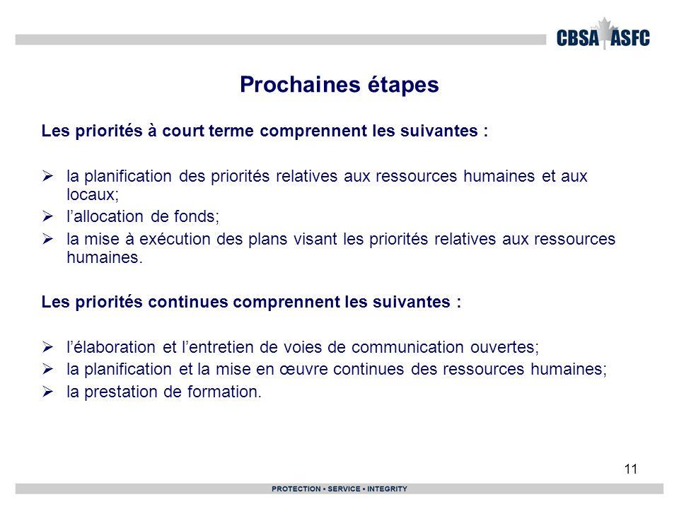 11 Prochaines étapes Les priorités à court terme comprennent les suivantes : la planification des priorités relatives aux ressources humaines et aux locaux; lallocation de fonds; la mise à exécution des plans visant les priorités relatives aux ressources humaines.