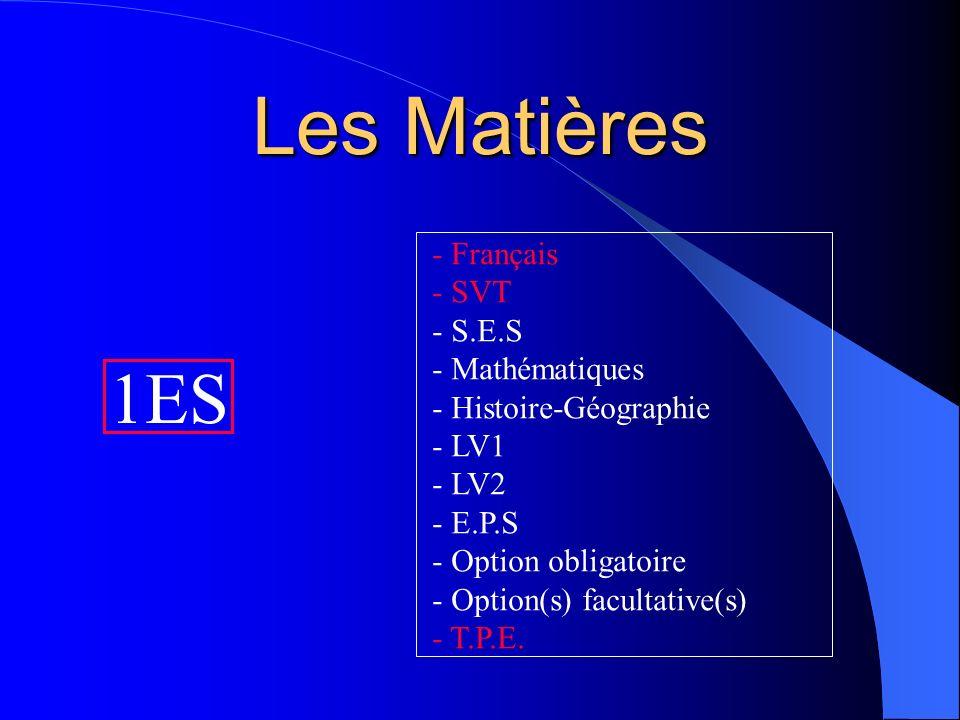Les Matières 1ES - Français - SVT - S.E.S - Mathématiques - Histoire-Géographie - LV1 - LV2 - E.P.S - Option obligatoire - Option(s) facultative(s) -