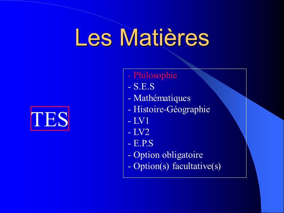 Les Coefficients Français4(oral : 2 ; écrit : 2) SVT2 TPE2(points au-dessus de 10) Philosophie4 S.E.S7 Mathématiques5 Histoire-Géographie5 LV13 LV23 E.P.S2 Option obligatoire2 Total37 + TPE + Options