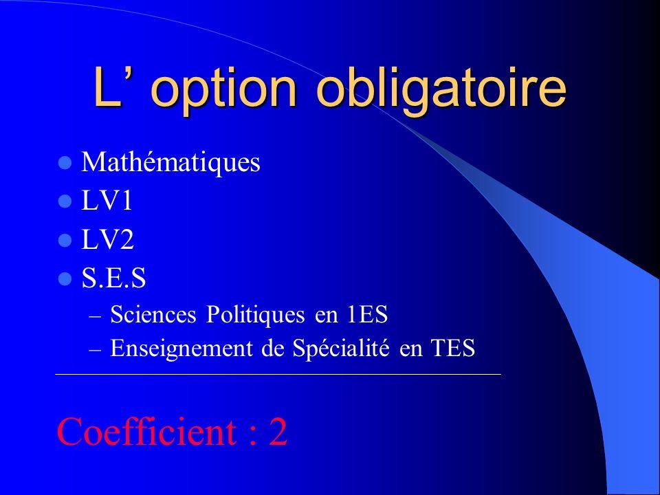 L option obligatoire Mathématiques LV1 LV2 S.E.S – Sciences Politiques en 1ES – Enseignement de Spécialité en TES Coefficient : 2