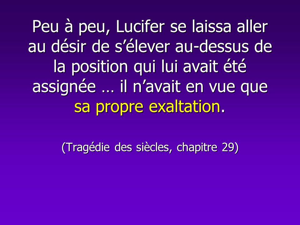 Peu à peu, Lucifer se laissa aller au désir de sélever au-dessus de la position qui lui avait été assignée … il navait en vue que sa propre exaltation