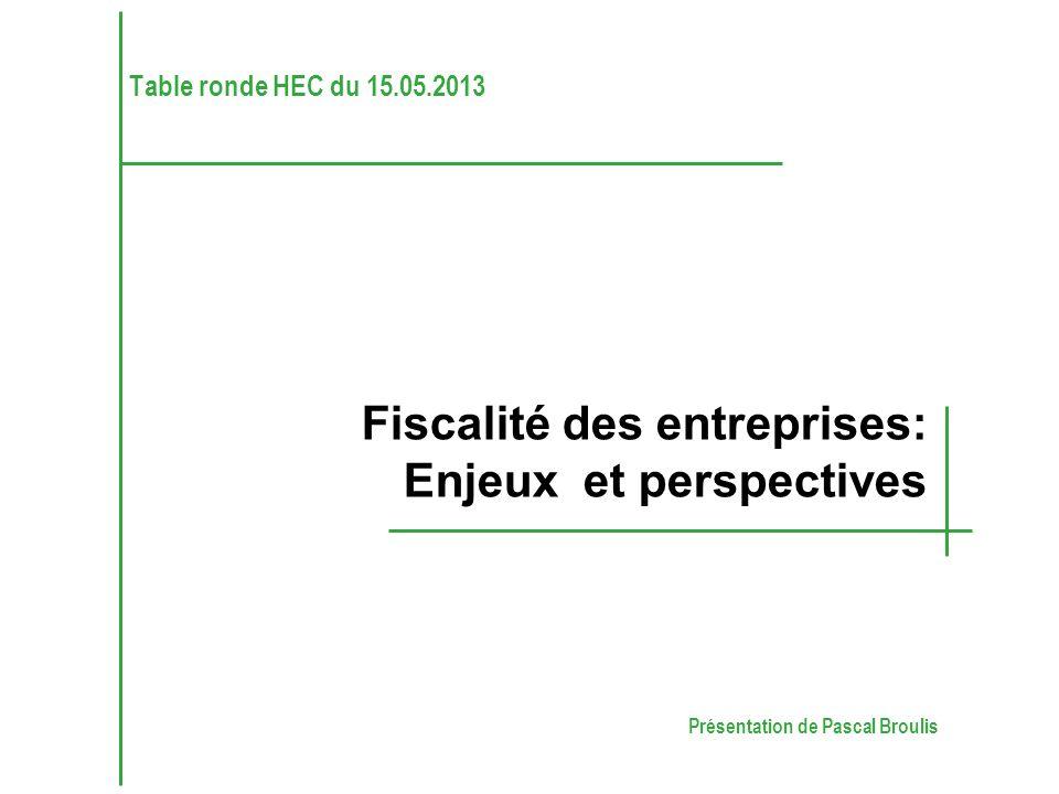 Présentation de Pascal Broulis Fiscalité des entreprises: Enjeux et perspectives Table ronde HEC du 15.05.2013