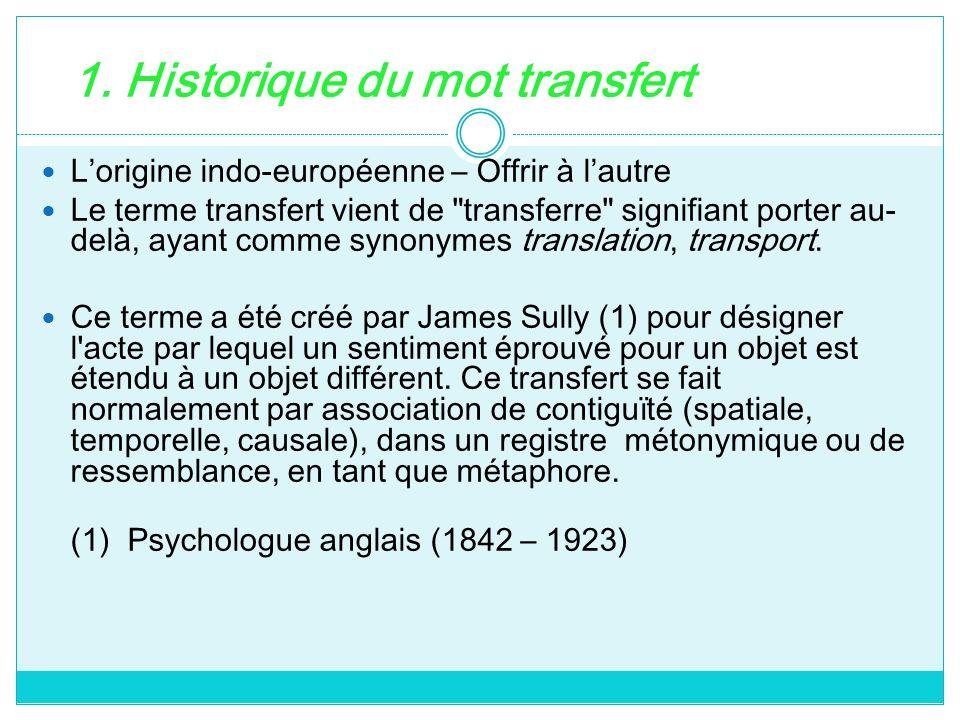 1. Historique du mot transfert Lorigine indo-européenne – Offrir à lautre Le terme transfert vient de