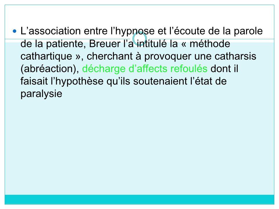 Lassociation entre lhypnose et lécoute de la parole de la patiente, Breuer la intitulé la « méthode cathartique », cherchant à provoquer une catharsis