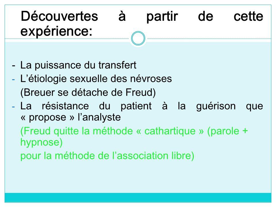 Découvertes à partir de cette expérience: -La puissance du transfert - Létiologie sexuelle des névroses (Breuer se détache de Freud) - La résistance d